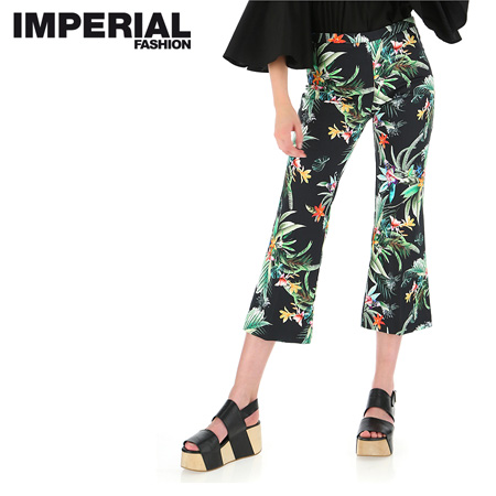 PANTALONI CROPPED CON STAMPA TROPICAL